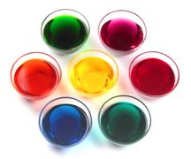glass caps with dyes - stock photo