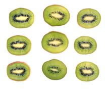 Fresh kiwi slices Stock Photos