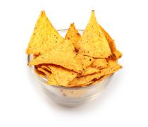 Tortilla chips in glass plate Stock Photos