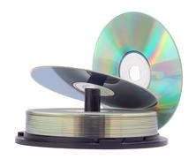 cd disks  stack  isolated on a white background - stock photo