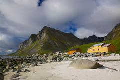 scenic lofoten islands - stock photo
