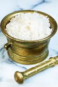 sea salt in a mortar - stock photo