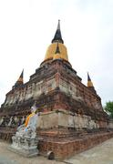 buddha statues at the temple of wat yai chai mongkol in ayutthaya near bangko - stock photo