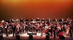 Colorful stage with the orchestra Stock Footage