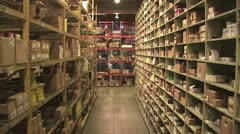 View of Warehouse Inventory Shelves With Contruction Supplies - stock footage