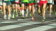 Stock Video Footage of Marathon Runners