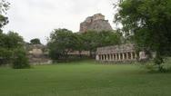 Mayan ruins dolly shot through trees Stock Footage