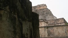 Stock Video Footage of Mayan temple ruins dolly shot wall to reveil temple sony super 3