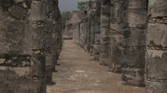 Mayan temple ruins dolly slide with pillars sony super 35mm Stock Footage