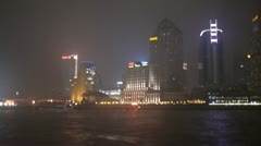 A foggy night in Shanghai on a boat cruise at Pudong river - stock footage