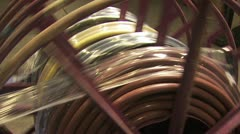 Industirial Wire Being Shrunk Wrapped Onto A Large Metal Spool Stock Footage
