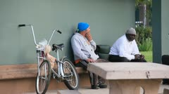 LA Homeless guys hanging out in Los Angeles museum area 4984 Stock Footage