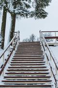 Wooden staircase in the winter Stock Photos