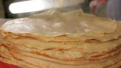 Baking pancakes food industry Stock Footage