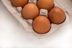 Brown Eggs in Carton Viewed Diagonally - stock photo