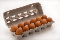Carton of Brown Eggs Stock Photos