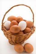 Basket of Fresh Eggs - stock photo