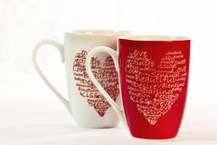 Coffee cups with love - stock photo