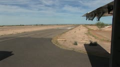 View of Runway From A Prop Plane Moving Down The Runway Stock Footage