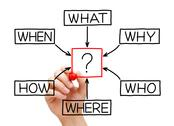 Questions flow chart Stock Illustration