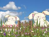 Easter bunnies with fence Stock Illustration