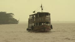 View of A Ferry Boat Sailing On The Amazon River - stock footage