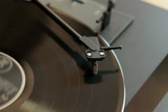Vinyl rotating on a turntable, close up NTSC Stock Footage