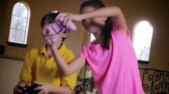Kids playing XBox Video Games - stock footage