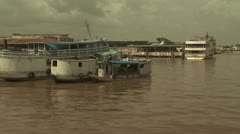 Stock Video Footage of Vew of Many Traditional Amazon Boats
