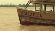 Stock Video Footage of Traditionl Ferry Boat Crossing the Amazon River
