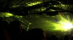 Massive Crowd laser concert laser light show arena stadium - stock footage