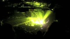 Exciting Colorful Laser Light Show in a Stadium Arena setting with crowd - stock footage