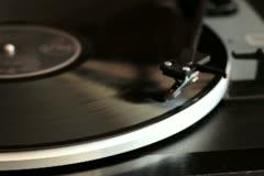 Vinyl rotating on a turntable NTSC Stock Footage