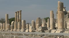 History & culture, Ephesus ruins, tourists columns long shot Stock Footage