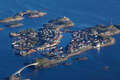 scenic henningsvaer - stock photo
