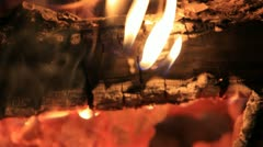 Ash and fire on the wood coal close Stock Footage