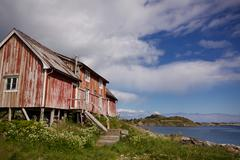 Old decaying fishing house Stock Photos