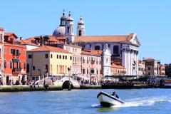 church at grand canal in vanice italy - stock photo