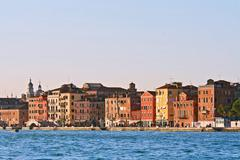 cityscape of vanice town, italy from passenger cruise - stock photo