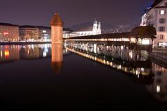 chapel bridge lucern night - stock photo