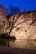 Dying lion monument in lucern switzerland twilight, vertical Stock Photos