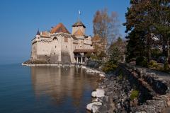 chateau de chillon, montreux switzerland - stock photo