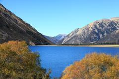 Lake pearson new zealand Stock Photos