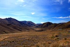 dry mountain range at lindis pass - stock photo