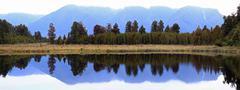 panorama lake matheson new zealand - stock photo