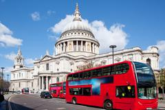 Paul cathedral with london bus Stock Photos