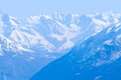 Snow mountain range landscape Stock Photos