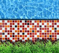 modern stone pavement with pool background - stock photo