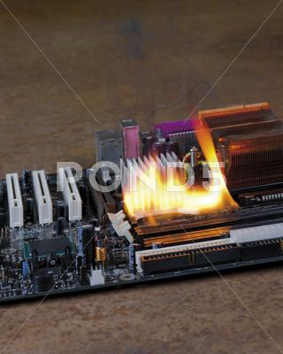 Stock photo of burning motherboard