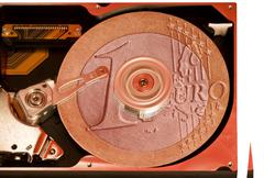 open hard disk detail - stock photo